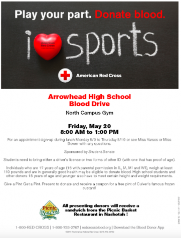 Arrowhead Hosts Spring Blood Drive on May 20
