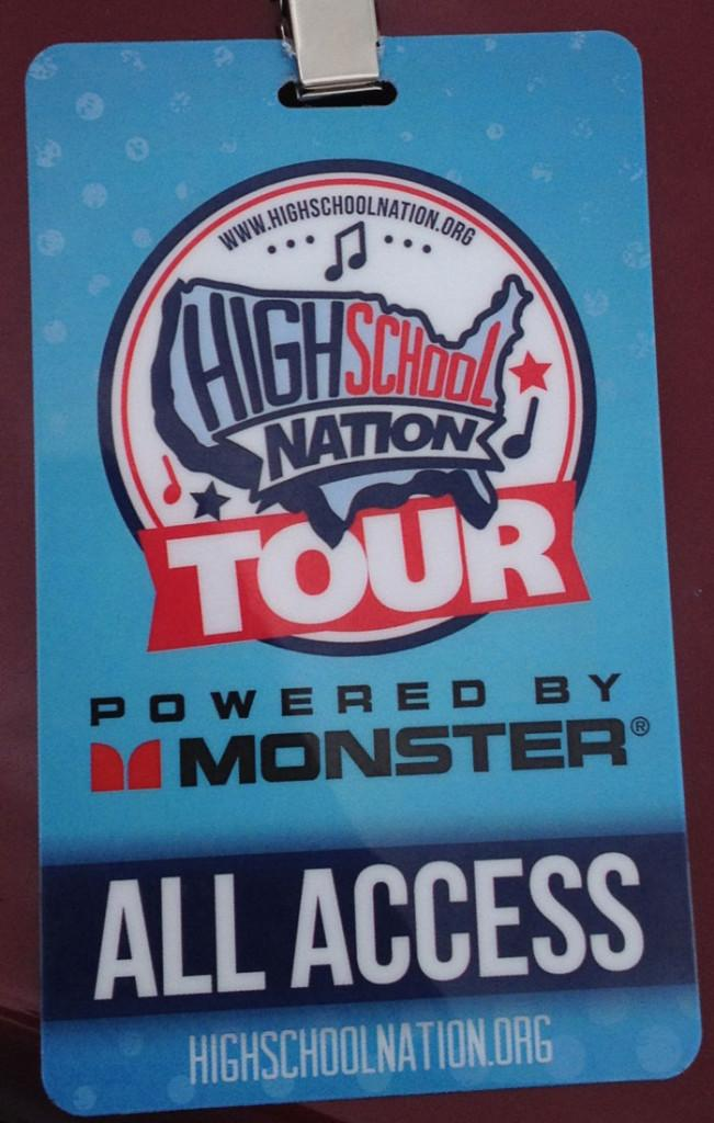 Pass given out by High School Nation allowing students to go back stage.