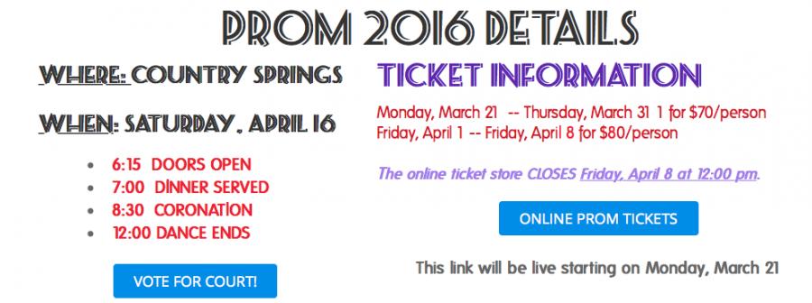 Screenshot of Prom Website