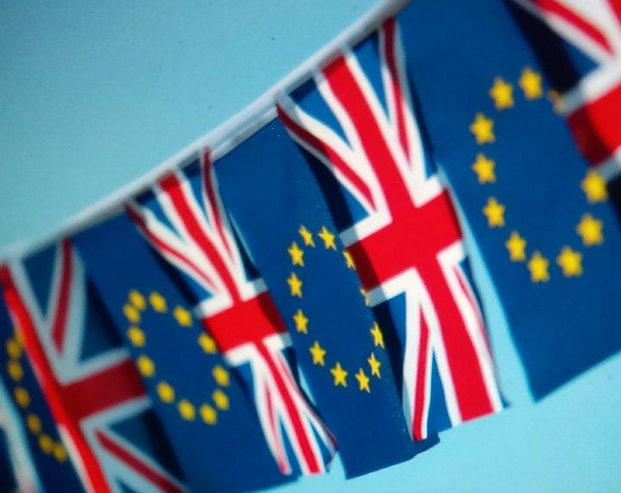 British flag next to European Union flag