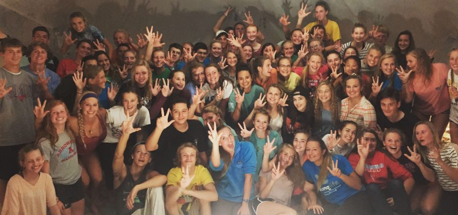Arrowhead students gather at the most recent Young Life club, held at Sophie Tiahnybiks house