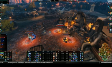 iRaffer (support), Yammyn (mid) and Adapting (jungle) take the Fire Giant objective to ensure victory.