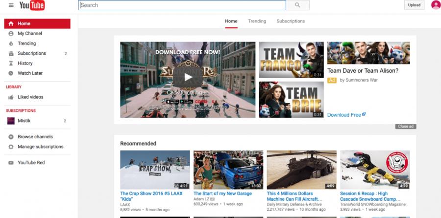 YouTube homepage.