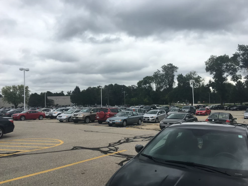 The Arrowhead North Campus parking lot, where students build up traffic every morning, each waiting to park.