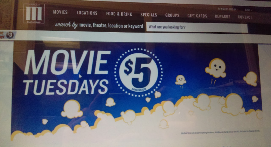 This is an online picture of the Marcus movies promoting five dollar movies.