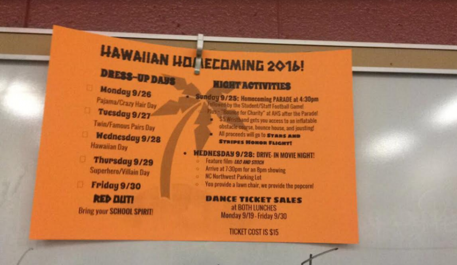 The Events for Homecoming Week.