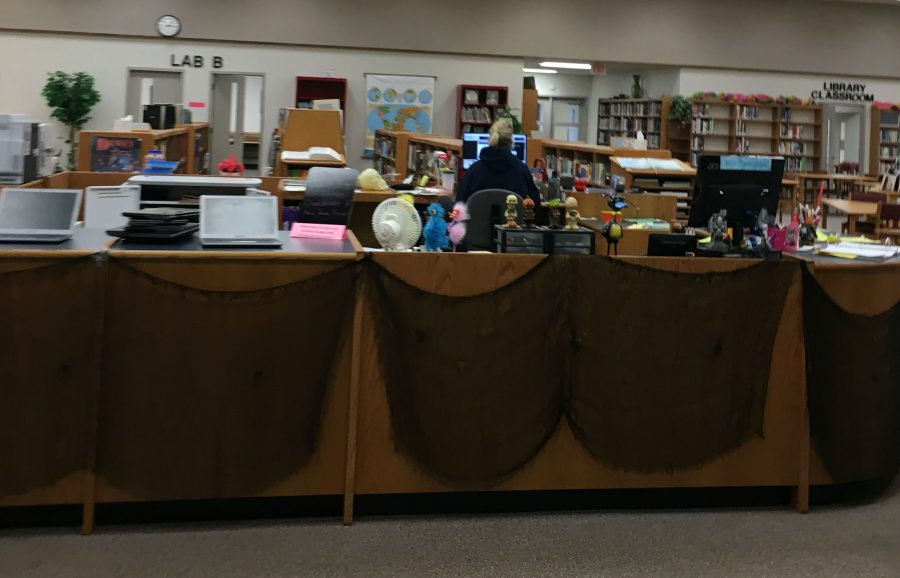 The North Campus Library decorated for Halloween