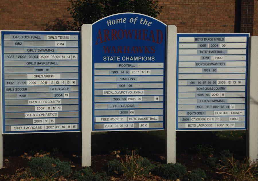 State championship beside Arrowheads athletic entrance