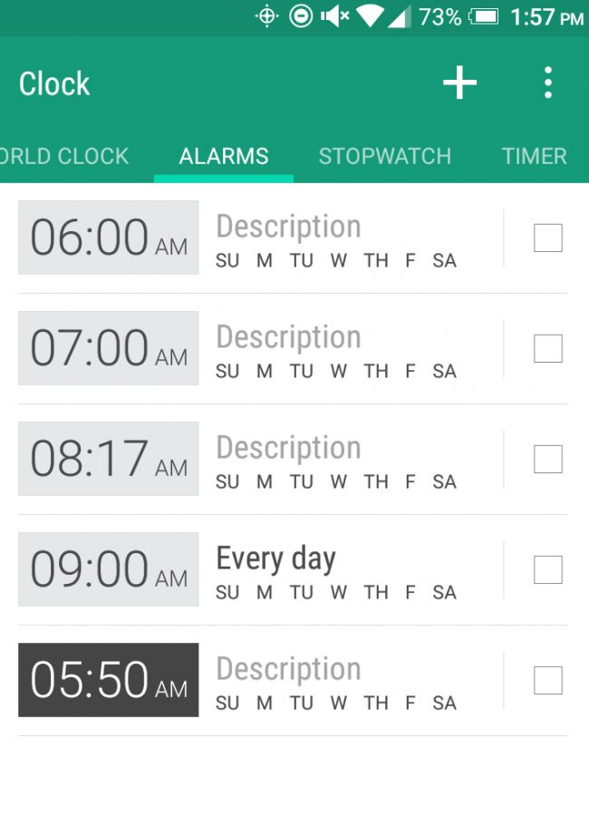 Screenshot of alarm times on the alarm clock app for Android phones.