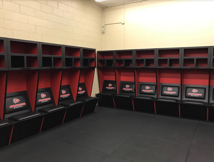 New Arrowhead hockey locker rooms at the Mullett Center.