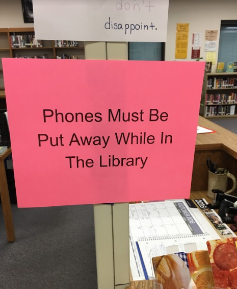 The no phones allowed sign hung in South Campuses library.