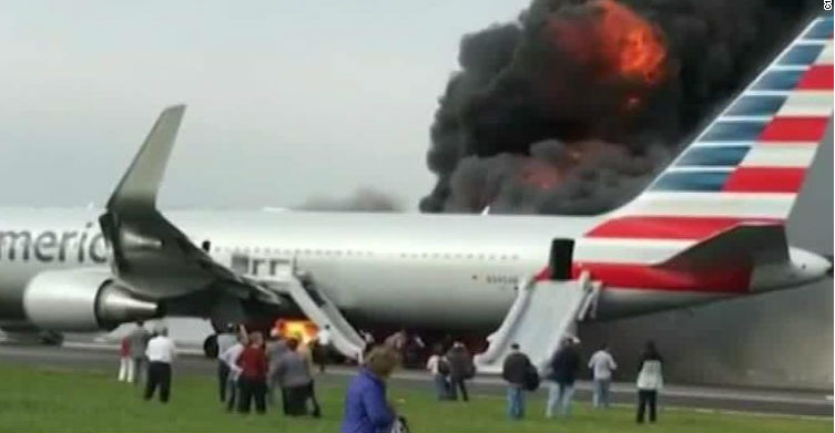 American Airlines Plane on Fire