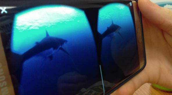 A photo of a 360 video on a cell phone.