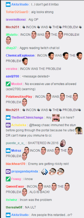 Twitch chat during Allegiances first game against Enemy.