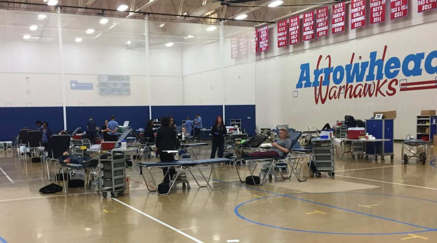 Blood drive in West Gym