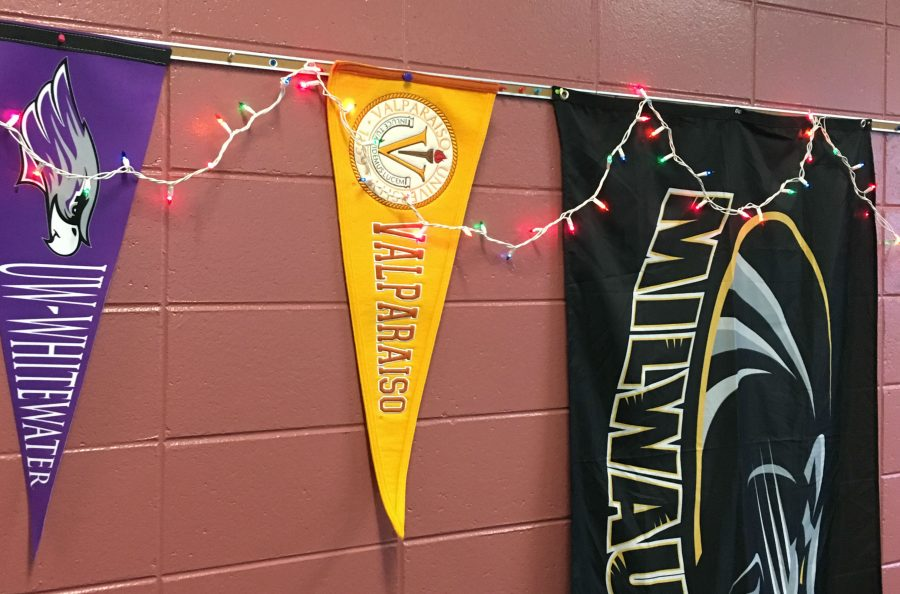 These colleges, UWM, and UWW, have banners located in the back of Ms. Carnells classroom at North Campus.