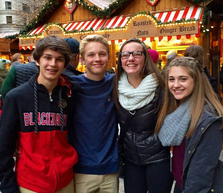 Sophomores Harry Smith, Jack Siepmann, Claire Babler, and Brenna Hamann on the 2015 Chicago Foreign Language field trip.