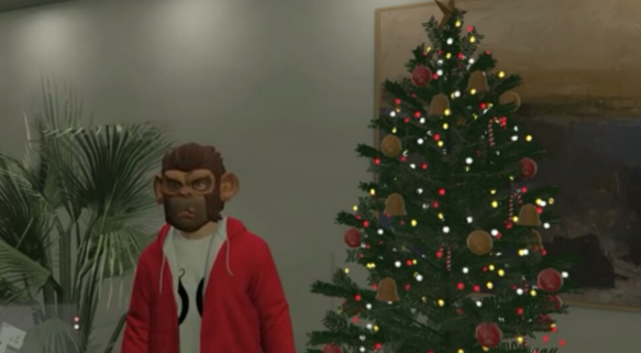 Picture of the Christmas tree and one of many outfits found in the game.