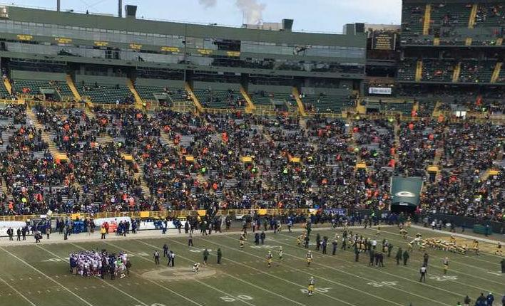 Players preparing for game at Lambeau field on Sunday, January 8th