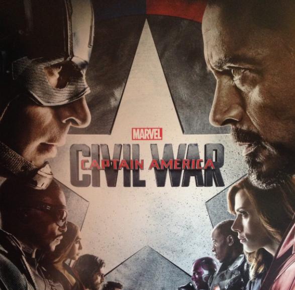 Initial teaser poster for 2016s highest grossing film: Marvels Captain America: Civil War.