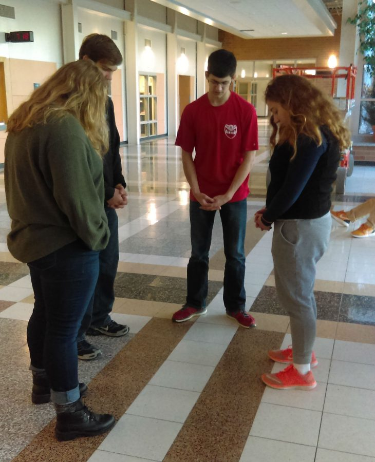 Zabel leads morning prayer session at the North Campus lobby every Wednesday morning at 7:15 AM