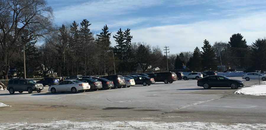 Arrowhead South Campus parking lot where sophomore students park their cars.