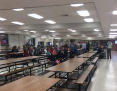Students studying in cafeteria study hall at North Campus.