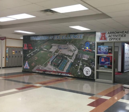Picture of the activities office inside of the north campus of Arrowhead High School.
