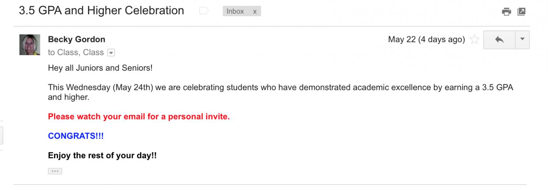 GPA celebration email.