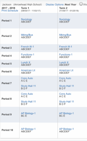 A schedule for a student who will be a junior at Arrowhead next year