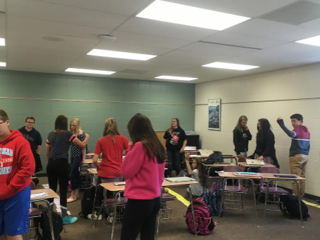 Freshmen students engaging in a activity during Social Studies at Arrowhead High School.