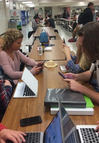 Arrowhead Students use Apple iPhone's during study hall.