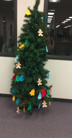 This year's Giving Tree at South campus is located in the library.