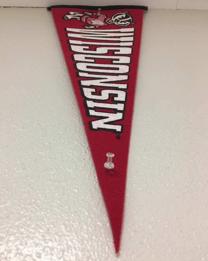 Wisconsin flag hangs proudly outside the counseling office.