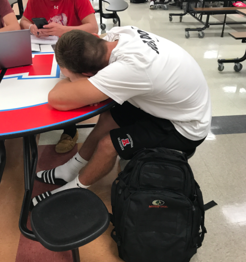 AHS student John Doleschy Sleeping during the time where he should have FSO