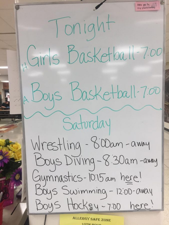 After school sports schedule