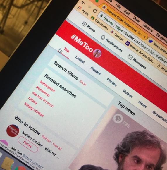 #MeToo trending on twitter on Arrowhead student's laptop.
