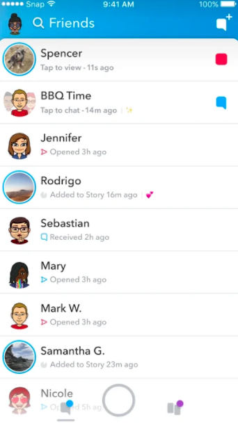 Snapchat's new home screen layout.