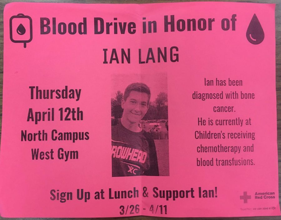 Pictured above is the flyer for the blood drive in honor of freshman Ian Lang.