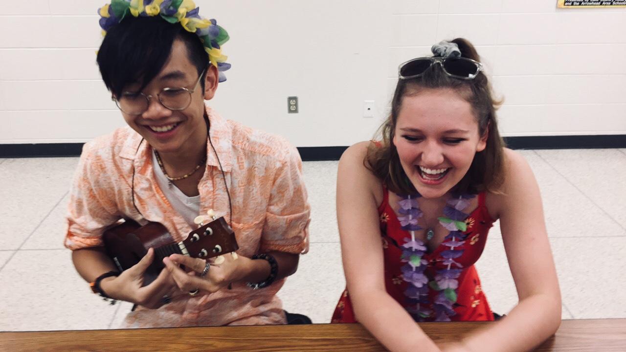 Arrowhead Seniors Kobe Chang and Abigail Fritz dress up for Hawaiian Day