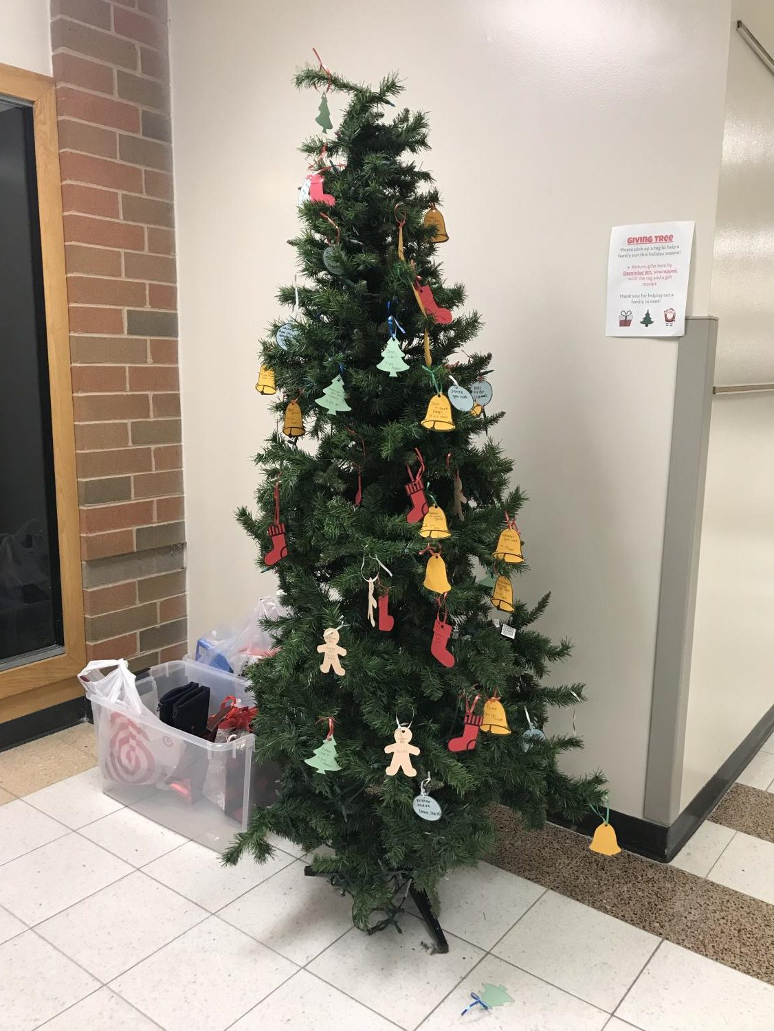 The trees can be found at South campus in the library and at North campus in the front foyer.