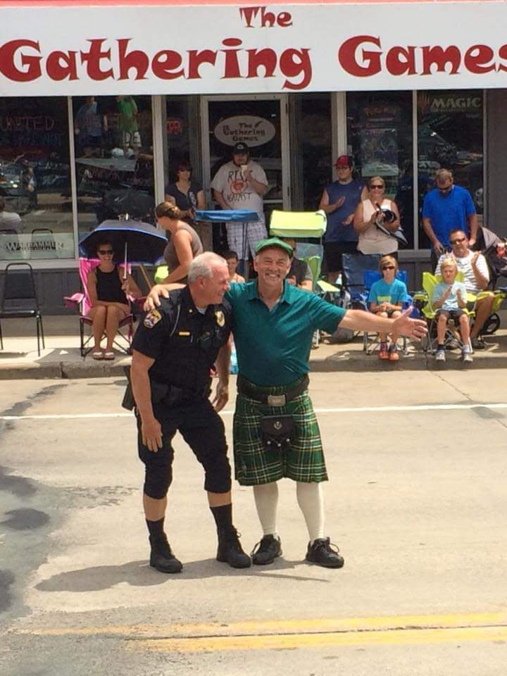 Fred Horne (right) with New Richmond's police chief, Chief Yehlik (left), at the community's Funfest parade. Horne says,