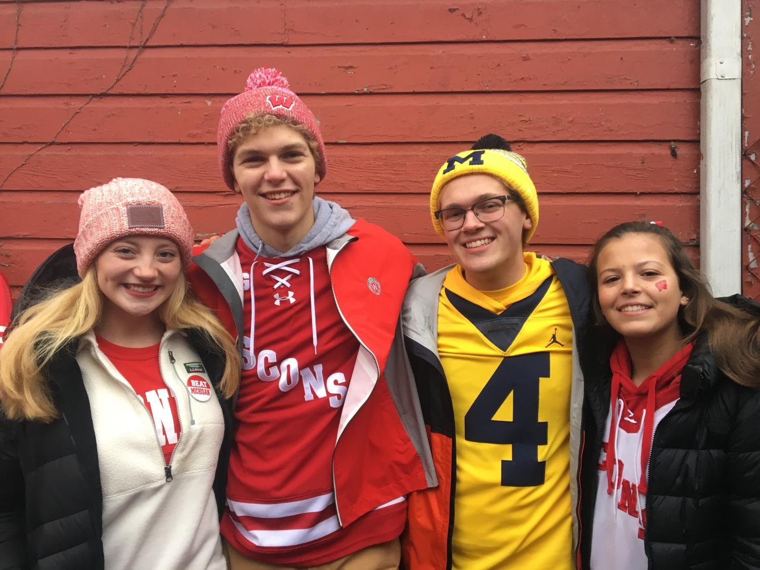 Joey Self (second from right) and his friends at the Michigan-Wisconsin football game last year.