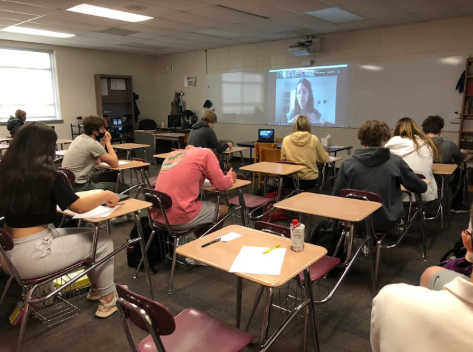 Hannah Berk from Pulitzer Center presents to Creative Writing classes